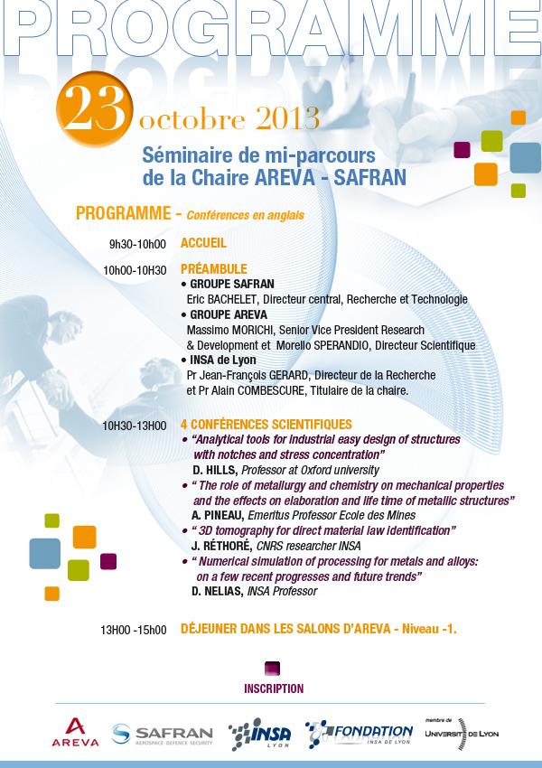 Programme séminaire de mi-parcours de la Chaire AREVA - SAFRAN - 23/10/2013